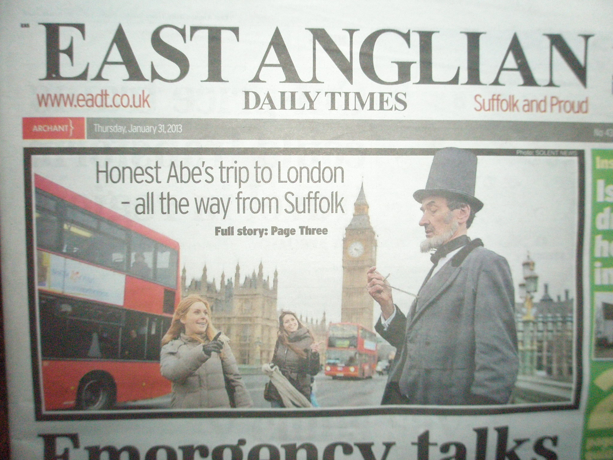 The East Anglian Times feature Abraham Lincoln