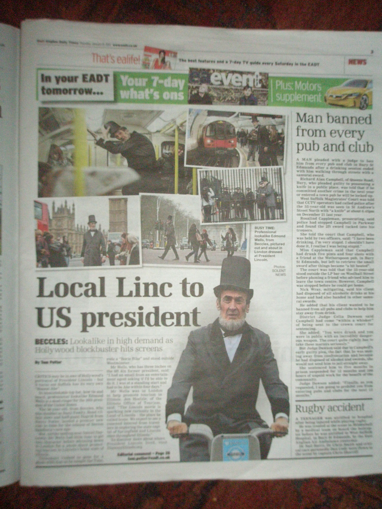 The East Anglian Daily Times Feature Abraham Lincoln Lookalike